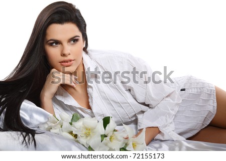 beautiful young girl with tulips - stock photo