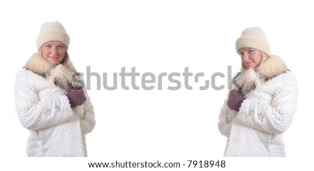 beautiful young girls in a winter dress - stock photo