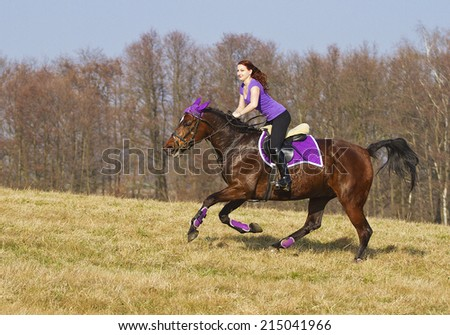 beautiful young happiness woman on a horse - stock photo