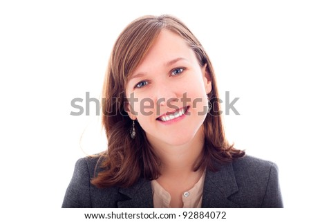 Beautiful young happy business woman smiling, isolated on white background.