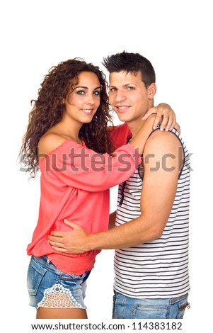 Beautiful Young Happy Smiling Couple Isolated on White