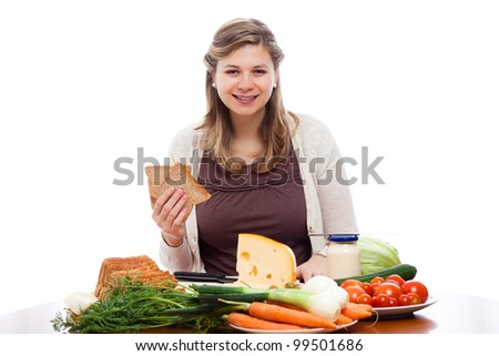 Beautiful young happy woman going to make sandwiches, isolated on white background.