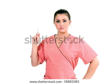 Beautiful young healthcare professional in pink scrubs - holding needle