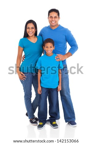 beautiful young indian family isolated on white background - stock photo