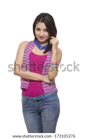 Beautiful Young Indian girl isolated on white background. - stock photo
