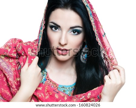 Beautiful young indian woman in traditional clothing   - stock photo