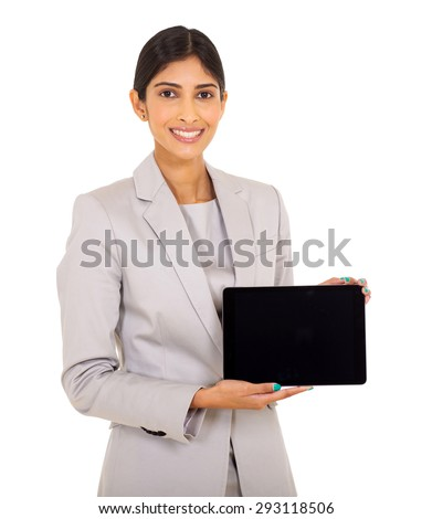 beautiful young indian woman showing tablet computer isolated on white background