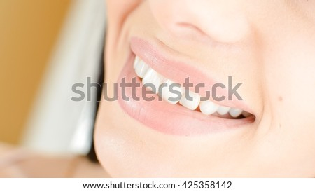 Beautiful young lady face close-up portrait  - stock photo