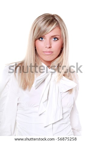 Beautiful young lady in white shirt isolated