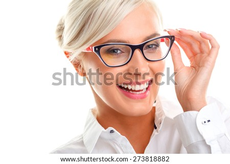 beautiful young laughing woman in white glasses. Head and shoulders studio shot isolated on white. - stock photo