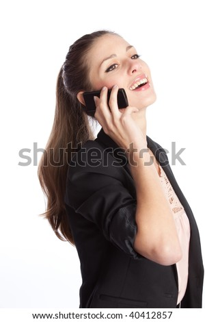 beautiful young laughing woman speaks by the black cellular phone - stock photo