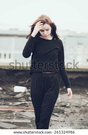 beautiful young model outdoors - stock photo