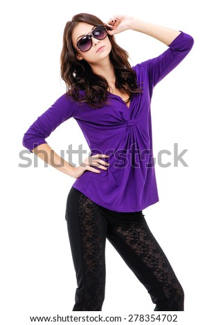 beautiful young model posing in the studio - stock photo
