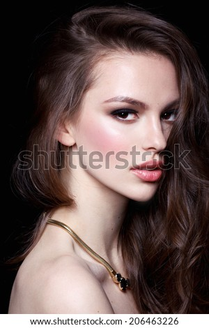 Beautiful young model with bright makeup and Evening make up, night - stock photo