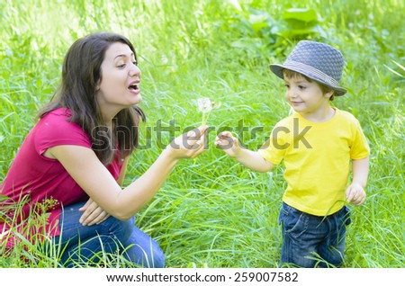 Beautiful young mother playing with her son in grass with dandelions - stock photo