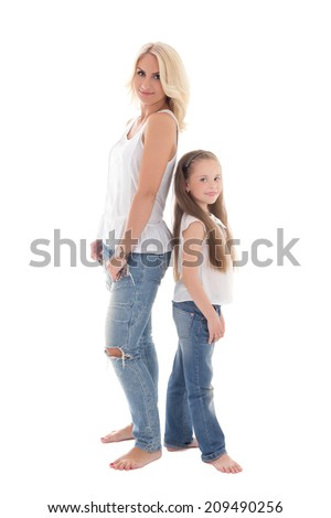 beautiful young mother posing with little daughter isolated on white background