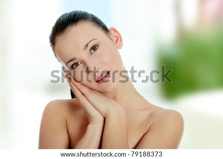 Beautiful young naked caucasian woman - stock photo