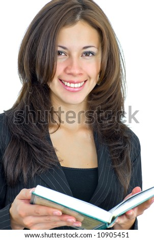 beautiful young office lady in black with a book