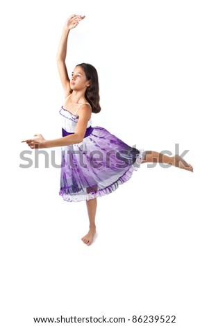 Beautiful young pan asian ballerina - stock photo