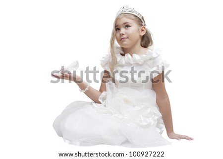 Beautiful young princess waiting for her prince. Isolated on white - stock photo