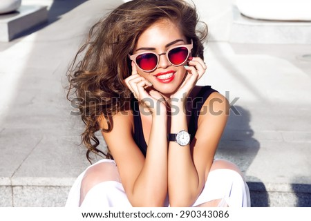 Beautiful young sexy brunette woman with bright evening make-up perfect smooth skin cosmetics cream face care,jewelry, beauty salon,magazine,close-up woman portrait hand watches,summer accessory,smile - stock photo