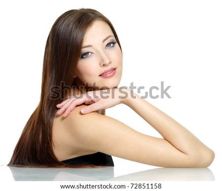 Beautiful young sexy girl with long straight red hair - isolated on white - stock photo