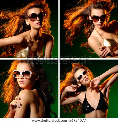 beautiful young sexy model face collage - stock photo