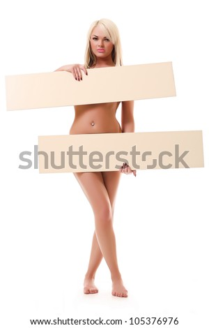 Beautiful young sexy woman holding empty board - stock photo
