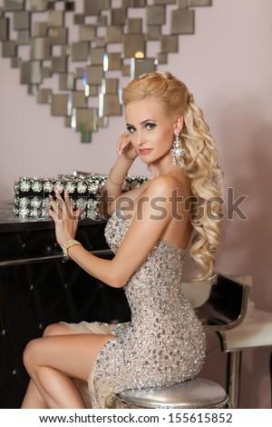 stock photo beautiful young sexy woman in luxurious restaurant interior luxury lifestyle joy elation 155615852