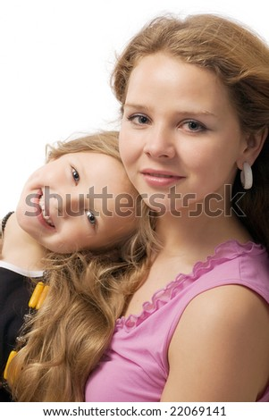 beautiful young sisters with long hair isolated on white - stock photo