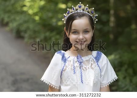 beautiful young smilin girl - stock photo