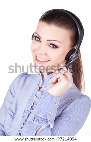 Beautiful young smiling cheerful woman with headphones with microphone - stock photo