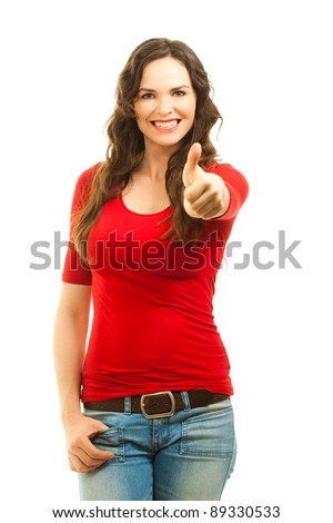 Beautiful young smiling woman giving thumbs up. Isolated over white. - stock photo