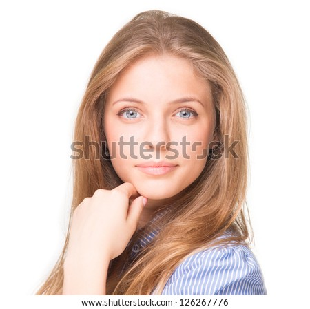 Beautiful young smiling woman in striped shirt looking at camera - stock photo