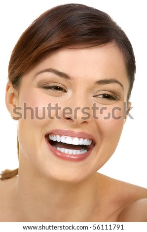 Beautiful young smiling woman. Isolated over white  background - stock photo