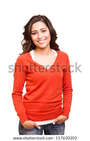 Beautiful young smiling woman posing - stock photo