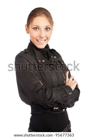 beautiful young smiling woman standing with hands folded against isolated on white background - stock photo