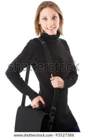 beautiful young smiling woman with briefcase over her shoulder isolated on white background - stock photo
