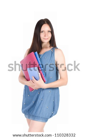 Beautiful young student girl with notebook