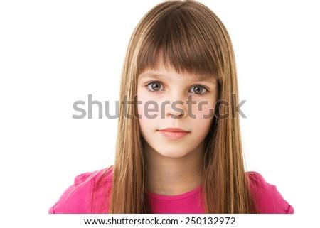 beautiful young teenage girl isolated on white - stock photo