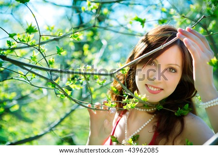 beautiful young woman - stock photo
