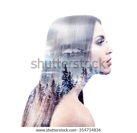 Beautiful young woman and beauty of nature.  On white background - stock photo