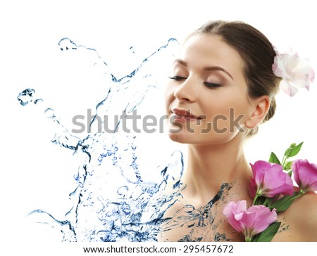 Beautiful young woman and water splash isolated on white - stock photo