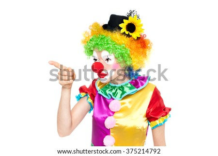 Beautiful young woman as angry clown - colorful portrait