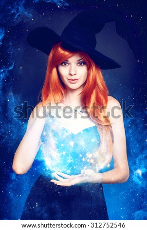 Beautiful young woman as halloween witch with scroll-magical portrait