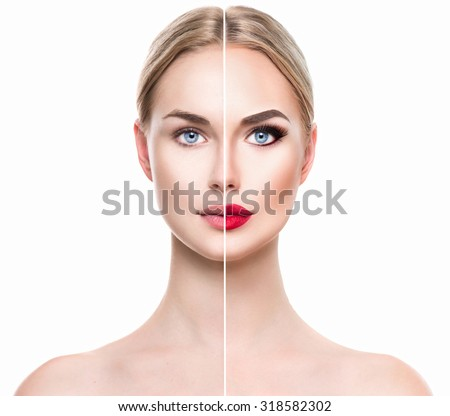 Beautiful young woman before and after make up applying isolated on white background. Comparison portrait of two parts of model girl face - with and without makeup. Girl before and after make-up apply - stock photo