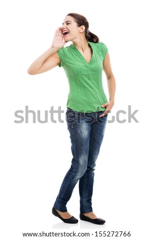 Beautiful young woman calling someone, isolated over a white background - stock photo