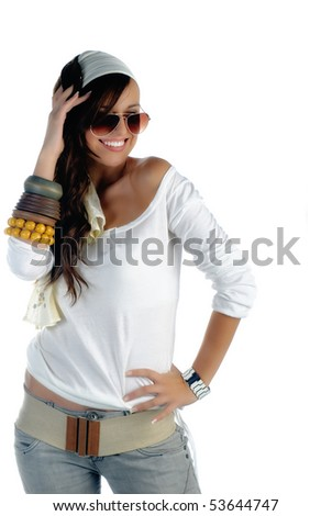 Beautiful young woman casually dressed smiling on white background