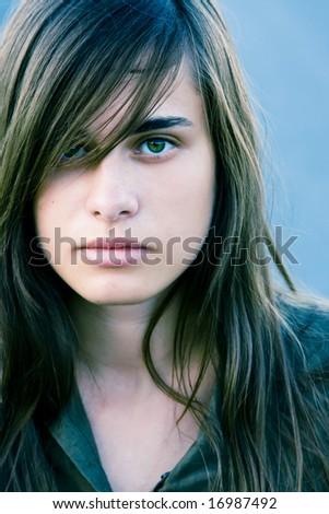 Beautiful young woman close portrait. - stock photo