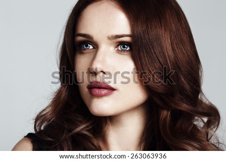 beautiful young woman close-up portrait - stock photo